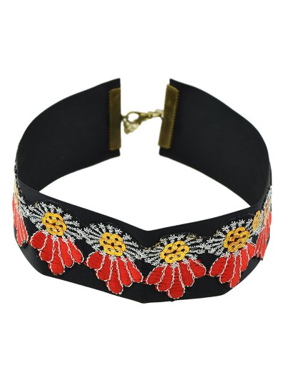 Embroidered Wide Choker - BLACK  Mobile