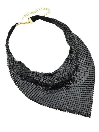 Metal Fake Collar Necklace - BLACK  Mobile