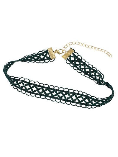Letter Lace Choker - GREEN  Mobile
