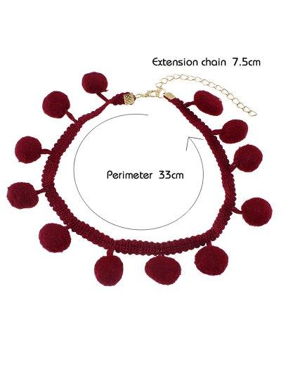 Pom Pom Braided Choker - RED  Mobile