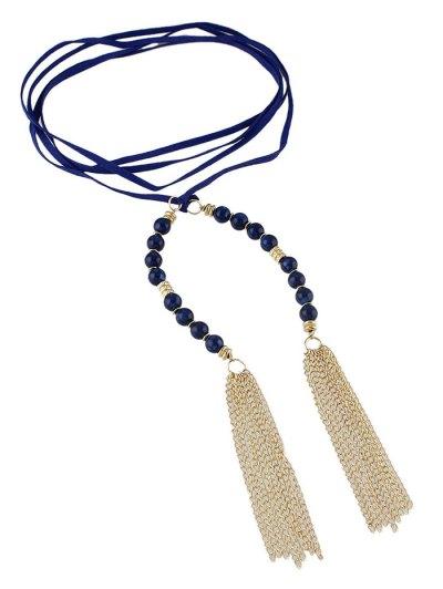 Tassel Beaded Wrap Choker - BLUE  Mobile