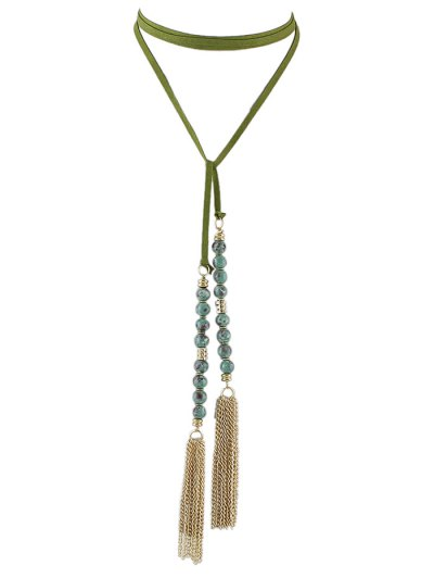 Tassel Beaded Wrap Choker - GREEN  Mobile