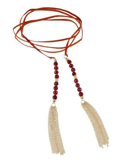 Tassel Beaded Wrap Choker - ORANGE RED  Mobile