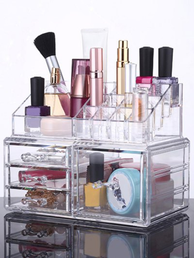 Cosmetic Organizer Jewelry Box - TRANSPARENT  Mobile