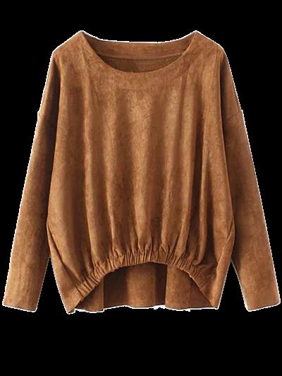 Suede Elastic Hem T-Shirt - LIGHT BROWN XL Mobile