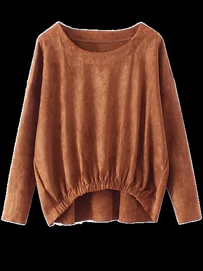 Suede Elastic Hem T-Shirt - DEEP BROWN M Mobile