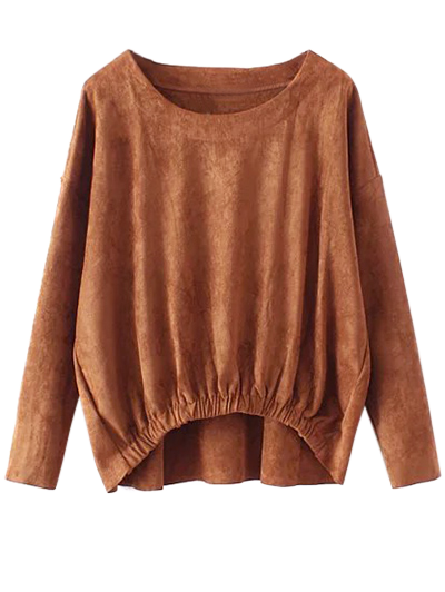 Suede Elastic Hem T-Shirt - DEEP BROWN L Mobile