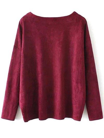 Suede Elastic Hem T-Shirt - BURGUNDY M Mobile