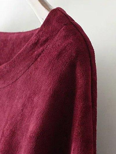 Suede Elastic Hem T-Shirt - BURGUNDY L Mobile