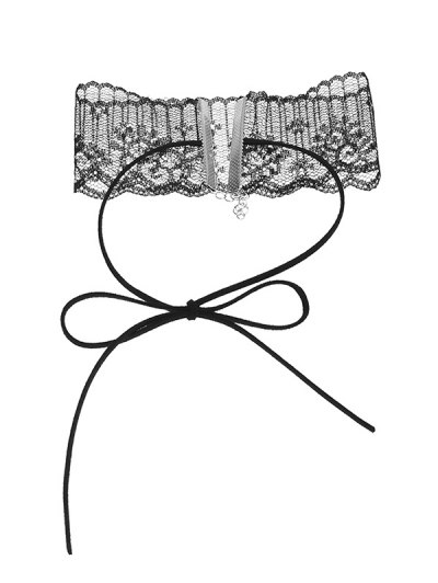 Lace Adjustable Bowknot Choker Necklace - BLACK  Mobile