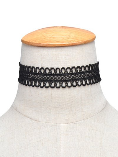 Lace Crochet Choker Necklace - BLACK  Mobile