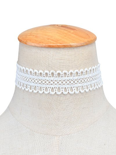 Lace Crochet Choker Necklace - WHITE  Mobile