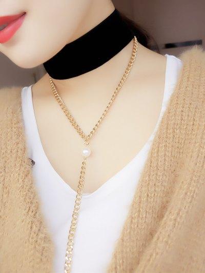 Fake Pearl Chain Velvet Layered Necklace - BLACK  Mobile