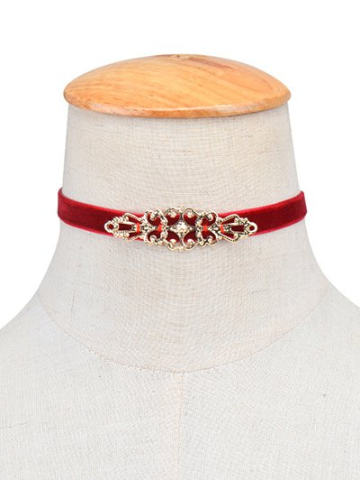Hollowed Geometry Velvet Choker Necklace - BURGUNDY  Mobile