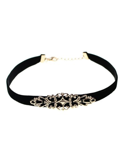 Hollowed Geometry Velvet Choker Necklace - BLACK  Mobile