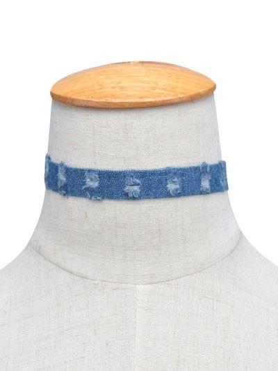 Denim Punk Choker Necklace - BLUE  Mobile