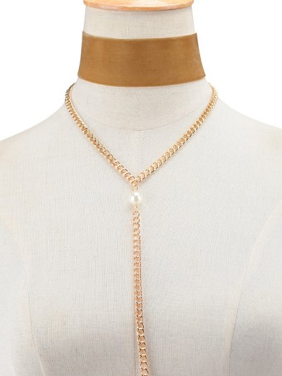 Fake Pearl Chain Velvet Layered Necklace - BROWN  Mobile