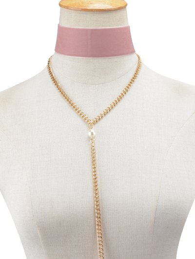 Fake Pearl Chain Velvet Layered Necklace - PINK  Mobile