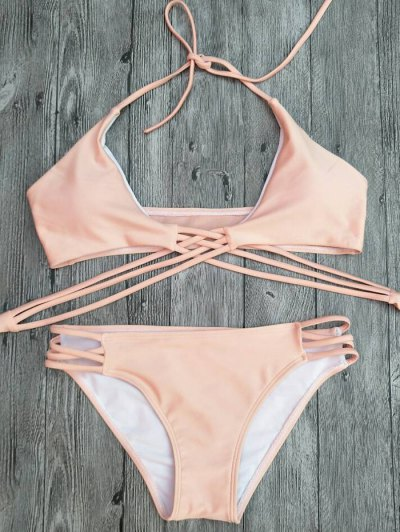 Strappy Cutout Lace-Up Bikini Set - PINK L Mobile
