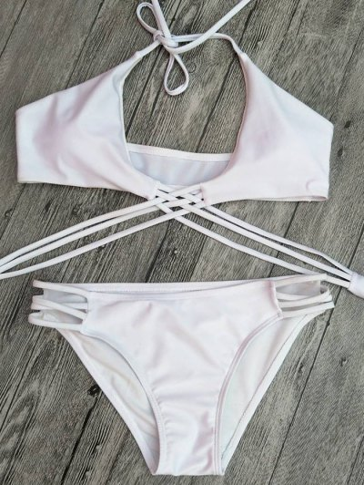 Strappy Cutout Lace-Up Bikini Set - WHITE M Mobile
