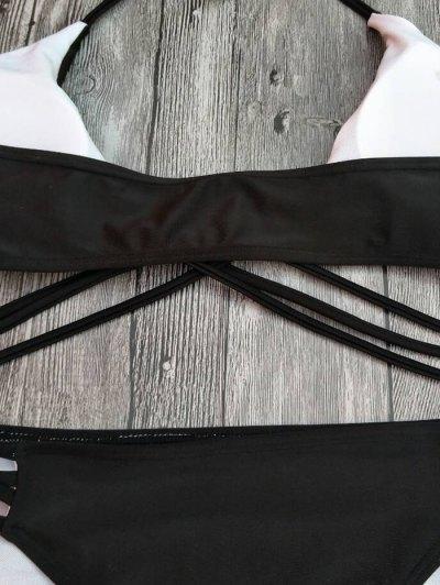 Strappy Cutout Lace-Up Bikini Set - BLACK L Mobile
