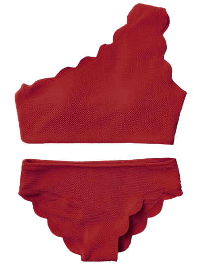 Wireless Scalloped One Shoulder Bikini - BURGUNDY M Mobile