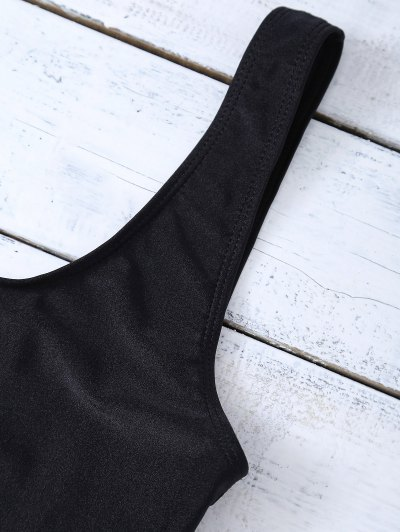 Lettering U Neck High Cut Swimsuit - BLACK M Mobile