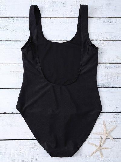 Lettering U Neck High Cut Swimsuit - BLACK S Mobile