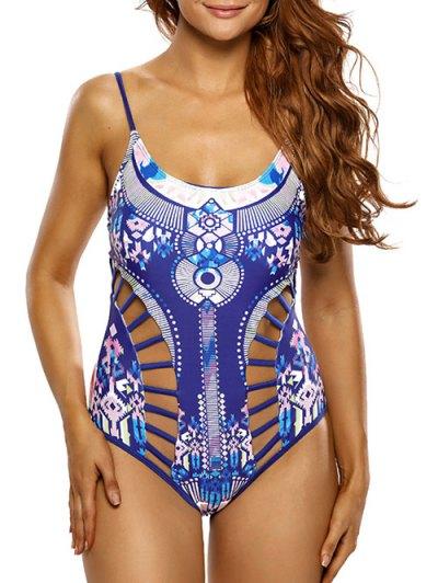 Ladder Cutout Aztec Print Swimsuit - BLUE S Mobile