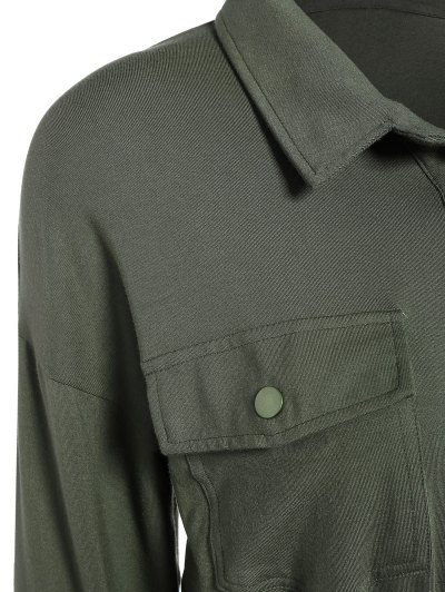 Midi Shirt Dress With Pockets - ARMY GREEN 2XL Mobile