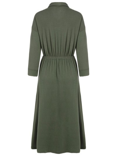 Midi Shirt Dress With Pockets - ARMY GREEN XL Mobile