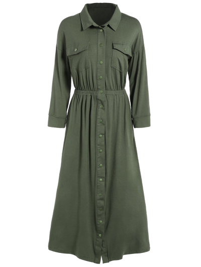 Midi Shirt Dress With Pockets - ARMY GREEN M Mobile