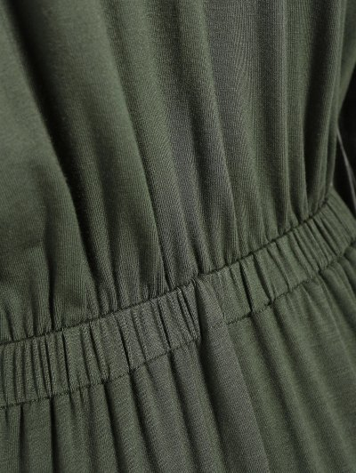 Midi Shirt Dress With Pockets - ARMY GREEN S Mobile