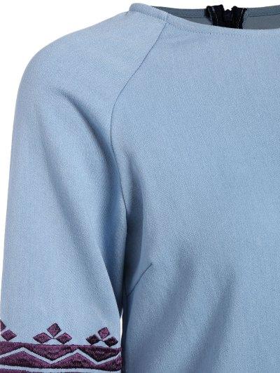 Embroidered Sleeve Denim Tunic Dress - LIGHT BLUE XL Mobile