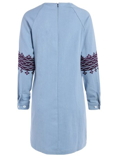 Embroidered Sleeve Denim Tunic Dress - LIGHT BLUE L Mobile
