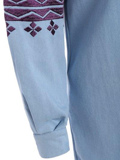 Embroidered Sleeve Denim Tunic Dress - LIGHT BLUE M Mobile
