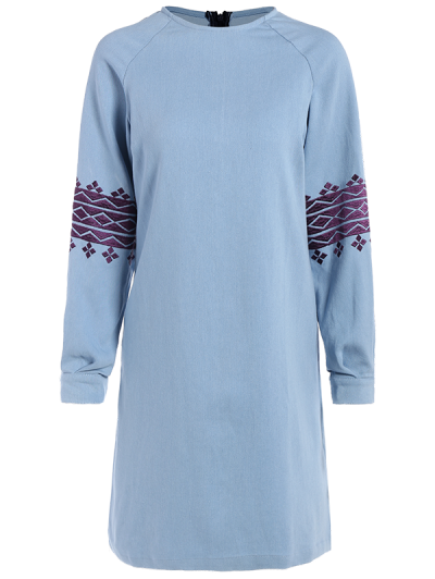 Embroidered Sleeve Denim Tunic Dress - LIGHT BLUE S Mobile
