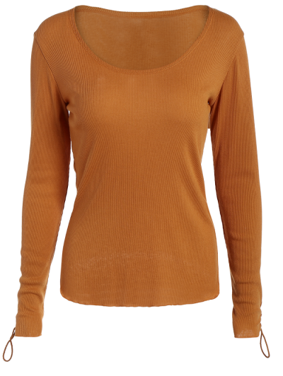 Lace Up Sleeve Scoop Neck Tee - BROWN XL Mobile