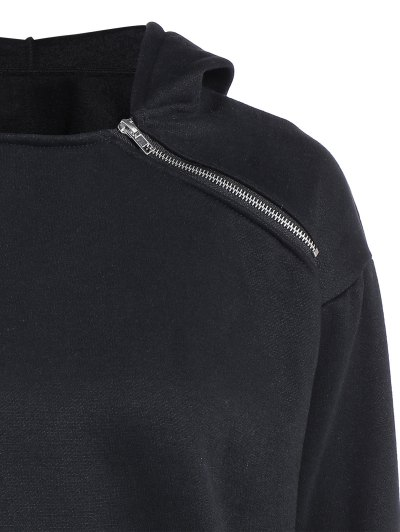 Zipped Neckline Hoodie - BLACK L Mobile