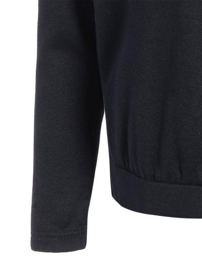 Zipped Neckline Hoodie - BLACK S Mobile