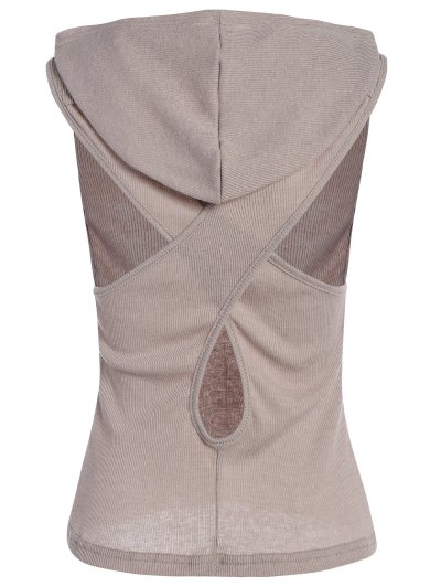 Hooded Sleeveless Top - GRAY XL Mobile
