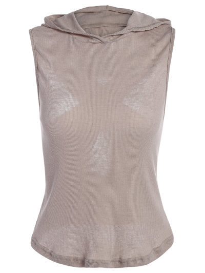 Hooded Sleeveless Top - GRAY M Mobile