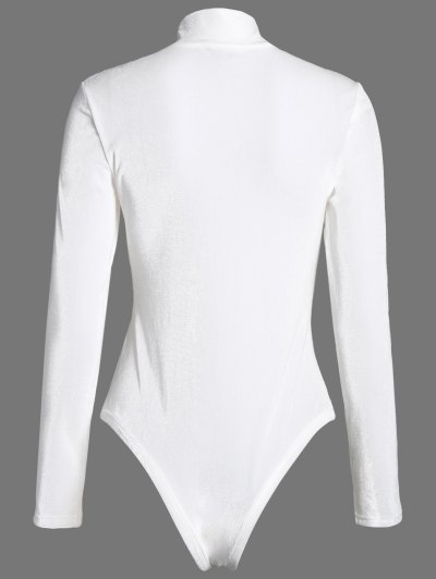 High Collar Velvet Bodysuit - OFF-WHITE L Mobile