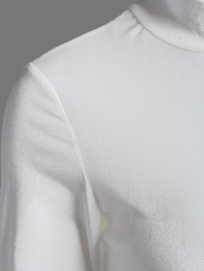 High Collar Velvet Bodysuit - OFF-WHITE S Mobile