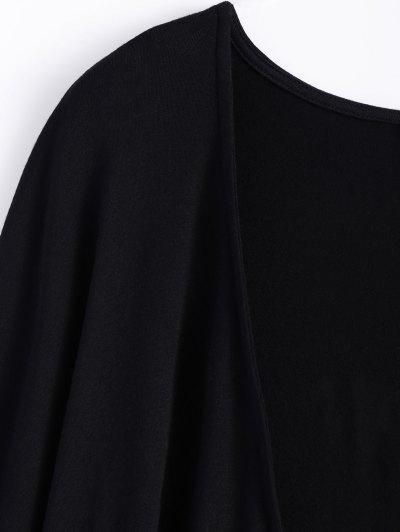 Tassel Moon Print Kimono - BLACK S Mobile