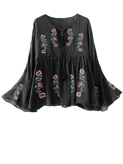 Flare Sleeve Lace Up Embroidered Top - BLACK L Mobile