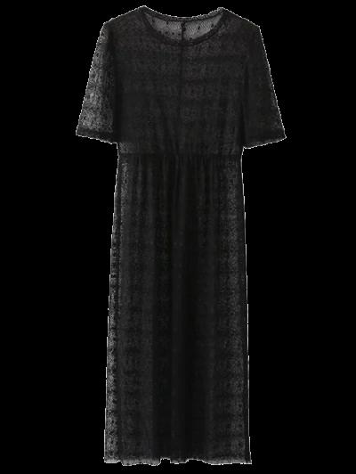Lace Sheer Midi Dress - BLACK M Mobile