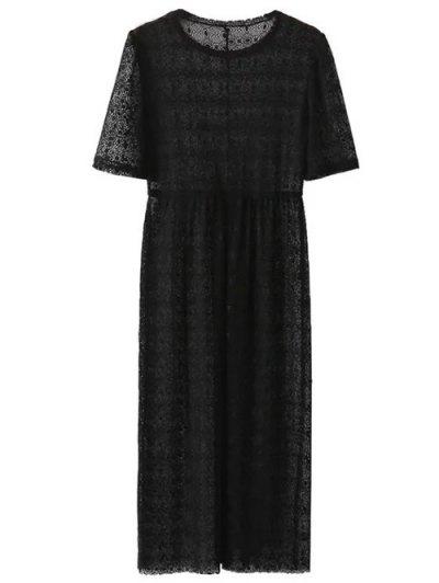 Lace Sheer Midi Dress - BLACK S Mobile