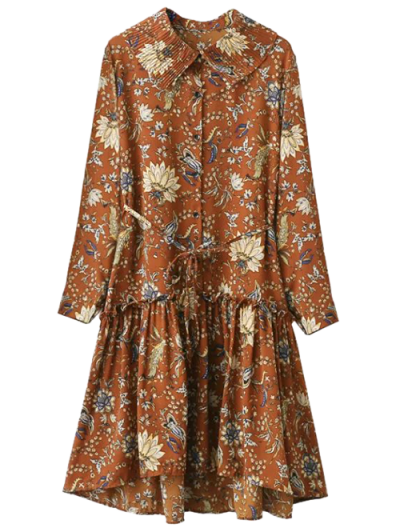 Pleated Collar Printed Drop Waist Shirt Dress - BROWN ONE SIZE Mobile