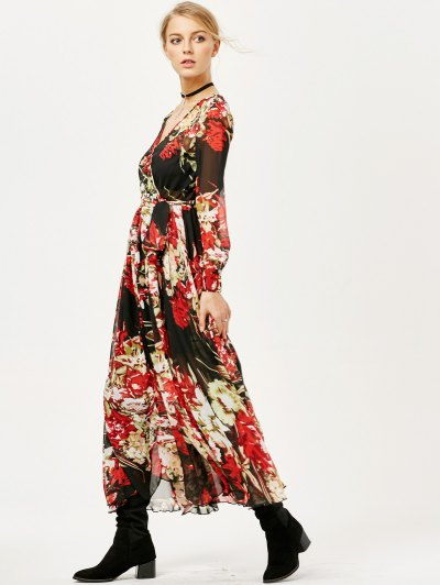 Floral See Thru Surplice Maxi Dress - FLORAL L Mobile